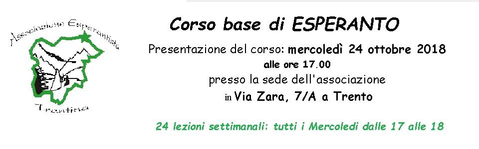 Corso di base di Esperanto 2018/2019